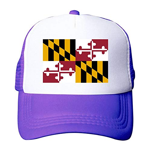 Heiazha Hipster Printed Adult Cap,Maryland Flag Mesh Fitted Hats Snapback Cap for Men Women Purple -