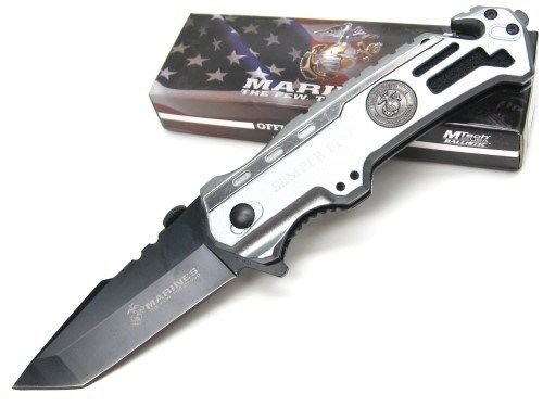 (New MTECH Silver US MARINES USMC Straight ASSISTED Folding Pocket ProTactical'US - Limited Edition - Elite Knife with Sharp Blade ! M-A1002TP)