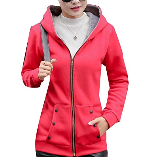 Wrap Coat Women Curvy Red Autumn XINHEO Hood Zips Size with Plus Outwear zCv6x4q