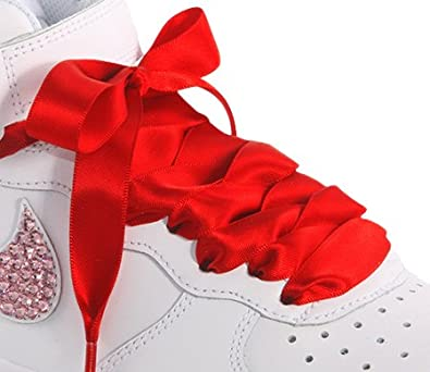 huge selection of 112df 0a631 High Fashion Red Satin Ribbon Shoelaces   Shoe Strings   Trainer Shoe Laces  To Fit Nike