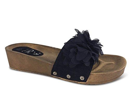 Damen Sandalen Pantoletten Sandaletten Blumen Plateau Keilabsatz Wedge  ST586 Schwarz
