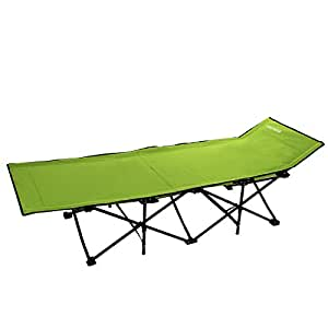 Ancheer Camping Cot Portable Folding Beach Bed - 260lbs Capacity - with High Strength Steel and Breathable Polyester Fabric - Free Storage Bag Included (#Green)