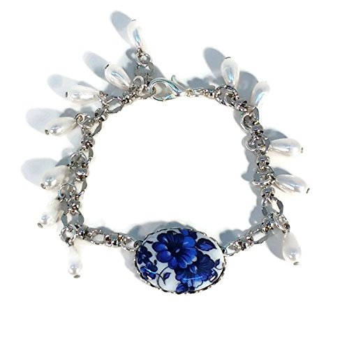 Blue Petunia's & Glass Pearls Silver Plated Charm Bracelet, Willow, White, Dangle, Gift, Prom Jewelry
