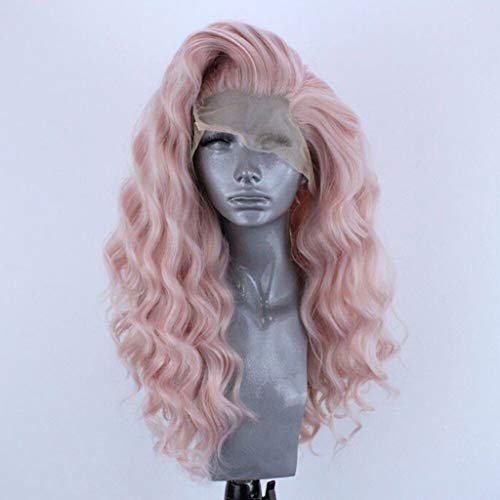 Tigivemen Cosplay Wigs, Women's Fashion Front Lace Wig,Curly Hair Wigs for Women Pink,Wigs for Latina Women (Pink)