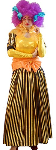 Pantomime-Ugly Sister-Panto Dame GOLD AND BLACK STRIPE DAME WITH WIG Men's Costume (XL)