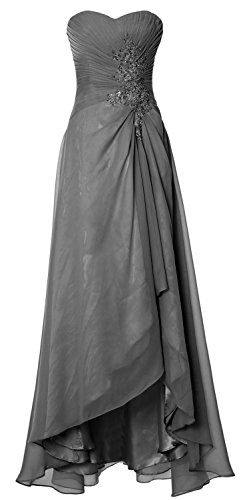 MACloth Women Long Hi Lo Wedding Bridesmaid Dress Sweetheart Formal Prom Gown Gris