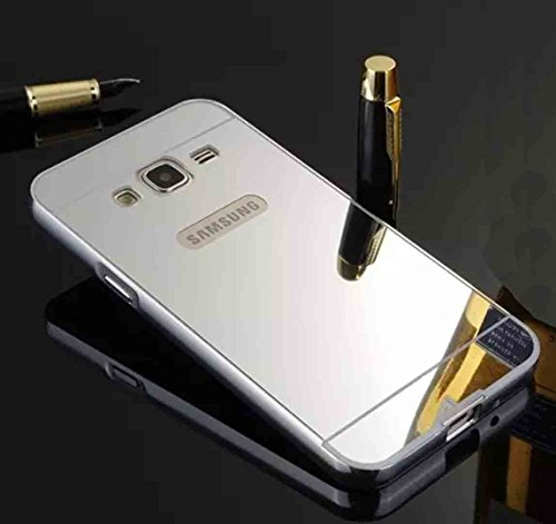 Galaxy J7 J700 Mirror Case, OMORRO Luxury Ultra Thin 2 in 1 Plated Aluminum Metal Frame Bumper + PC Hard Back Anti-Scratch Protective Cover Case Silver (Note: This is not J710)