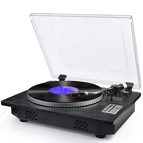Record Player with Speakers Turntable for Vinyl Records Bluetooth in & Out USB Direct Vinyl to MP3 Recording Belt Drive Professional LP Phonograph Automatic Vintage Solid Record Player, Black