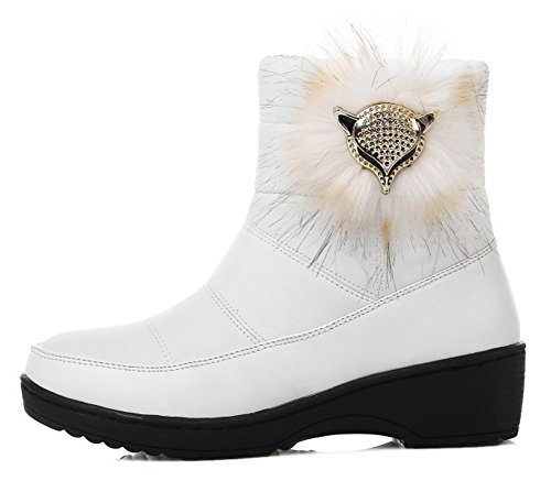 Women's Comfy Quilted Round Toe Fox Ankle High Pull On Warm Snow Boots White