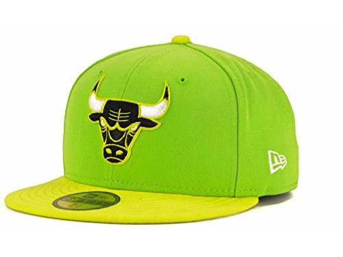 Chicago Bulls NBA New Era 59Fifty November Custom Fitted Lime/Green Cap Hat (7 3/4)