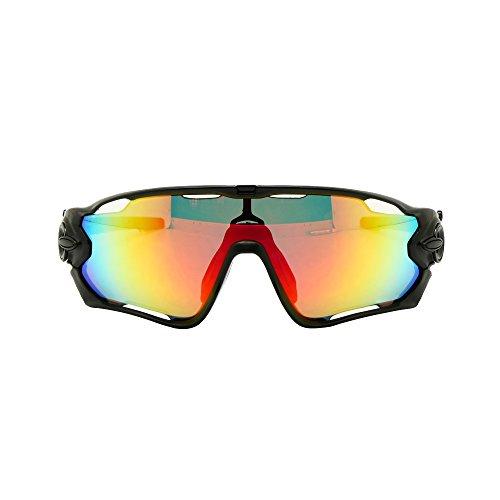 EnzoDate 4 oder 5 Objektiv-Kit, UV400 Night Vision Fahrrad Sonnenbrille Brille polarisierte Radfahren (Schwarz/Petrol, 5 Objektiv-Kit)
