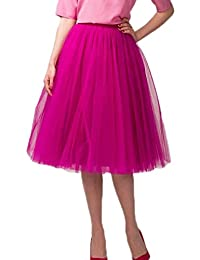 Anmor Women's Knee Length Vintage Tutu Skirt Crinoline Petticoat Underskirt