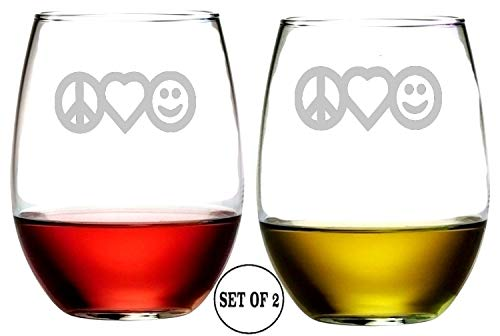 (Peace Love Happiness Stemless Wine Glasses | Etched Engraved | Perfect Fun Handmade Present for Everyone | Lead Free | Dishwasher Safe | Set of 2 | 4.25