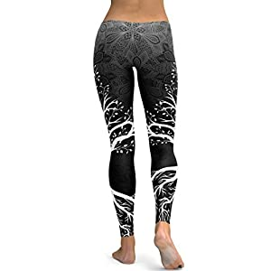 Women's Yoga Fitness Leggings Running Gym Stretch Sports High Waist Pants Trousers by-NEWONESUN Black