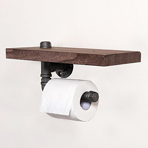Industrial Toilet Paper Holder with Wooden Shelf Metal Wall