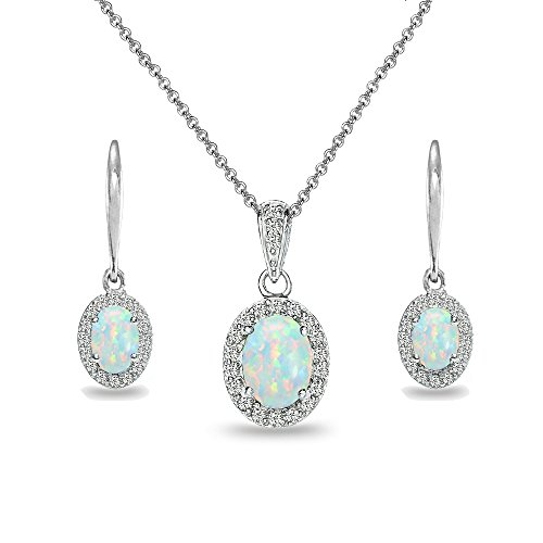Sterling Silver Simulated White Opal & White Topaz Oval Halo Necklace & Leverback Earrings Set