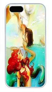 The Little Mermaid Ariel and Prince White PC Case Cover for iPhone 5 5s