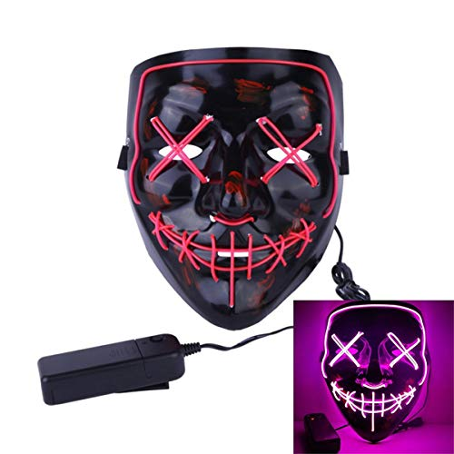 Uecoy Light up LED Smiling Stitched Purge Mask for Halloween, Rave, Festivals, and Cosplay Halloween Costume (Pink)