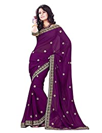 Mirchi Fashion Wine Faux Georgette Embroidered Party Traditional Indian Saree