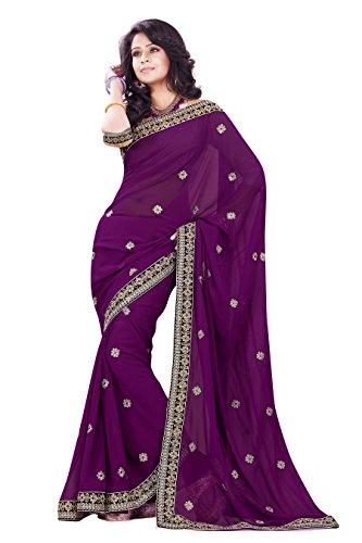 (Mirchi Fashion Women's Faux Georgette Wedding Party Wear Saree Free Size Wine)