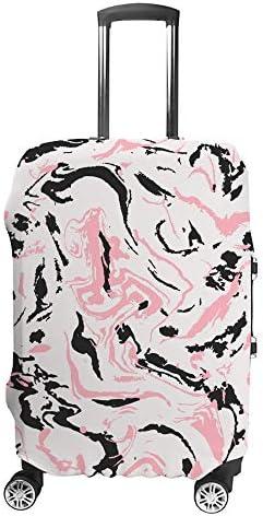 スーツケースカバー ピンクと黒の大理石 伸縮素材 キャリーバッグ お荷物カバ 保護 傷や汚れから守る ジッパー 水洗える 旅行 出張 S/M/L/XLサイズ
