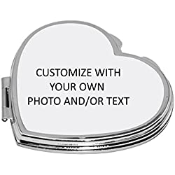 Personalized Compact Mirror with Your Own Photo and/or Text (Heart)
