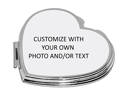 Personalized Heart Mirror Compact (Personalized Compact Mirror with Your Own Photo and/or Text)