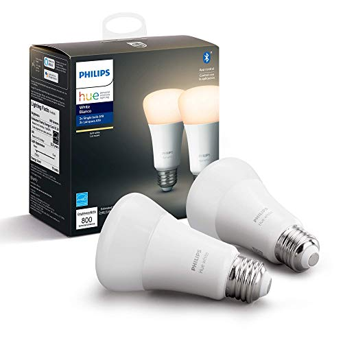 Philips Hue White 2-Pack A19 LED Smart Bulb, Bluetooth & Zigbee compatible (Hue Hub Optional), Works with Alexa & Google Assistant - A Certified for Humans Device