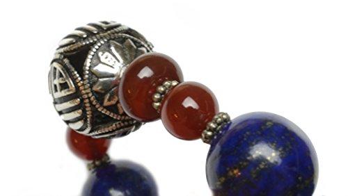 • Luxe Sterling Silver Rolling in Fortune Lapis Lazuli Bracelet Amulette -Fortune Feng Shui Bijoux