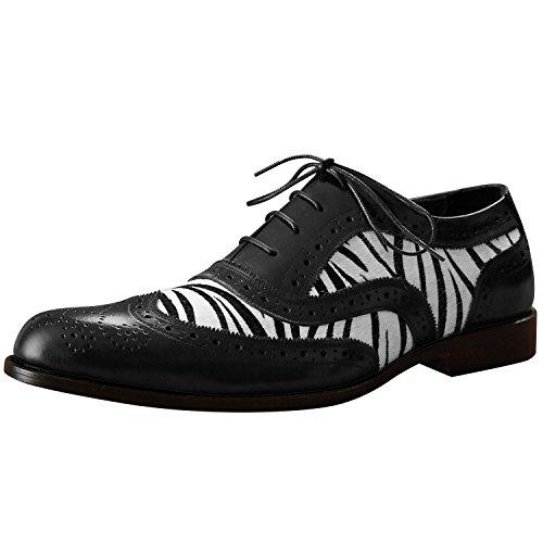 Itailor Hombres Dual Tone Zebra Print Cuero Wingtip Brogue Zapatos Negro