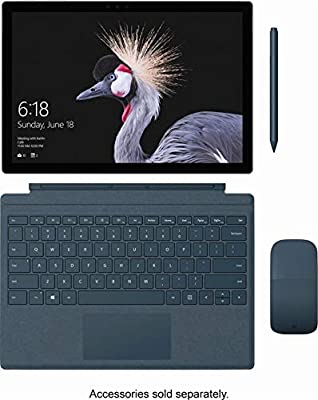 """Microsoft Surface Pro with Platinum Signature Type Cover Bundle 12.3"""" Touch-Screen (2736 x 1824) Tablet PC, Intel Core M3, 4GB RAM, 128GB SSD, WiFi, Bluetooth 4.1, MicroSD, Windows 10 Home, Platinum"""