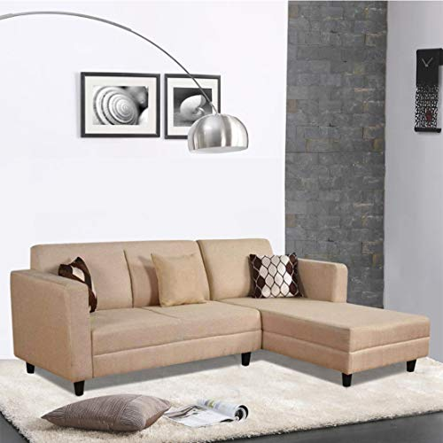 Urban Basics Crestaly 5 Seater Fabric L Shape Sectional Sofa Set  Beige    Right Facing