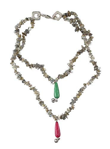Handmade Double Strand Layered Necklace for Women with Natural Jade and Jasper Gemstones ()