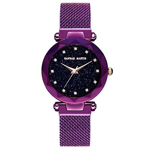 Hannah Martin Japan Citizen Quartz Women's Watch Stainless Steel mesh Magnetic Buckle Band Waterproof Ladies Watches (Purple)