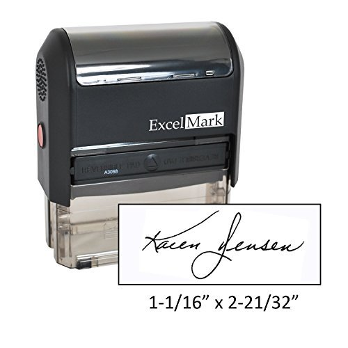 Custom Signature Stamp - Self Inking - Black Ink - Extra Large by ExcelMark