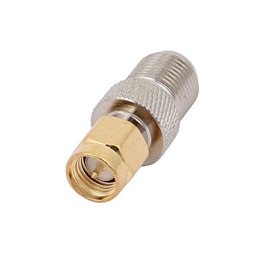 uxcell F Type Female Jack to SMA Male Straight Coax Adapter Coaxial Connector Silver Tone