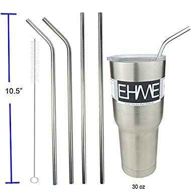 EHME 10.5'' Long Bent|Straight Endurance Stainless Steel Drinking Straws fits 20oz & 30oz Yeti Tumbler Rambler Cups, Free Cleaning Brush included