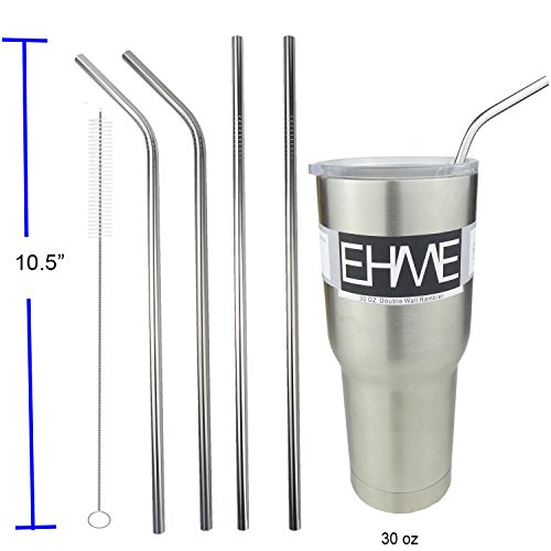 EHME 10.5'' Extra Long Bend | Straight Replacement Stainless Steel Drinking Straws fits for 20oz & 30oz RTIC...