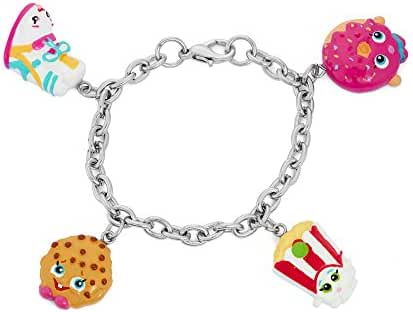 Shopkins Painted Character Charm Bracelet Sneaky Wedge, Kooky Cookie, Poppy Corn, D'Lish Donut