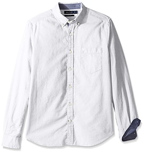 Nautica Men's Big and Tall Long Sleeve Button Down Solid Oxford Shirt, Bright White, 3X-Large
