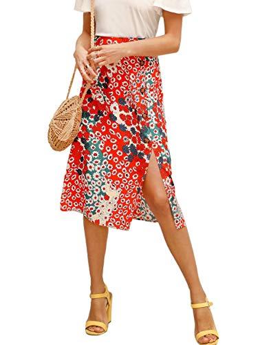 Floerns Women's Boho Floral High Waist Split A Line Midi Skirt Red L