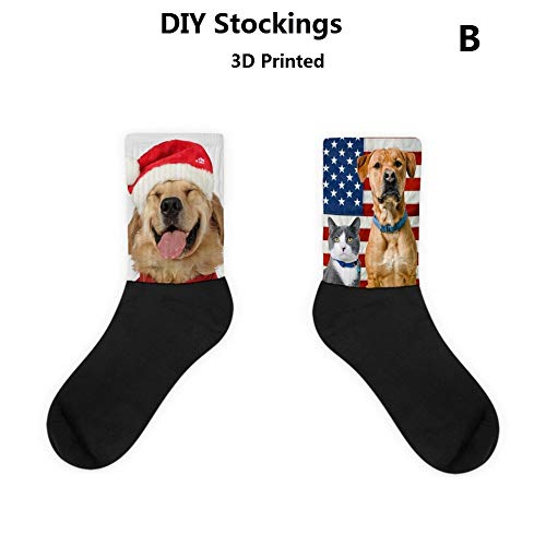 Mid Stockings Sock Thick Male Female 100% Cotton 2 Pairs 32Cm 3D Hd Pet Series Cat Dog Print Sock Leisure Winter Skateboarding Sports Socks Couple Canvas Shoes Friend Family Gift/B/As Shown
