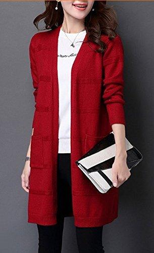 chamarra de invierno nueva coreano manga larga Suéter chaqueta de punto Suéter de Mujer Rojo Tamaño de bolsillo de la...