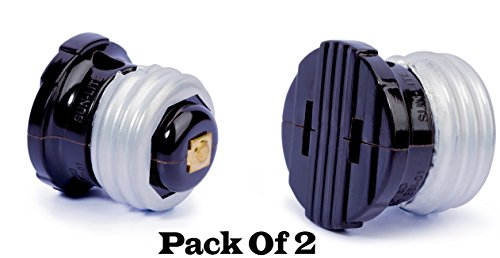 (2-Pack Outlet Socket Adapter, Converts Polarized Handy Outlet Plug to Screw-In E26 Light Bulb Holder Converter Female to Socket Adapter, Black.)