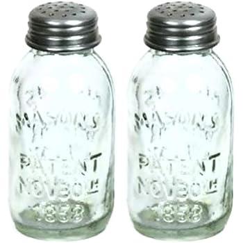 Well-known Amazon.com: Set of 2 Glass Mason Jar Salt and Pepper Shakers  YA56
