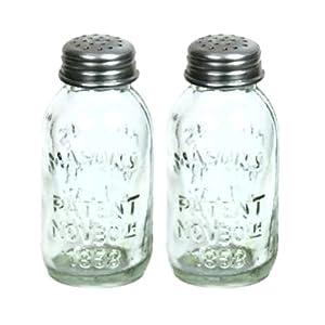 Set Of 2 Glass Mason Jar Salt And Pepper
