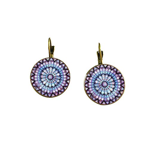 Fasclot Women Earrings Rose Window Stud Gothic Cathedral Earrings, Classic Glass Ear Stud Chain,Salute Notre Dame DE Paris,Collector's Edition Studs Earrings (B) -