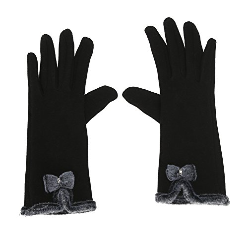 Diamondo Women Touch Screen Mittens Sheep Wool Winter Bowknot Glove (Black) Sheepskin Wool Gloves