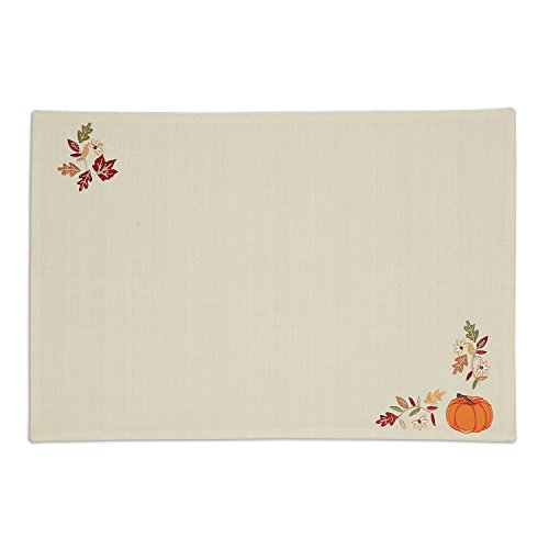 Thanksgiving Pumpkin Set (DII Polyester Placemat, Set of 6, Embroidered Pumpkin Vine - Perfect for Fall, Thanksgiving, Friendsgiving and Dinner Parties)