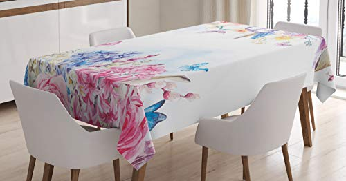 Ambesonne Shabby Flora Tablecloth, Romantic Garden Roses and Daisy Flowers Leaves Print, Dining Room Kitchen Rectangular Table Cover, 60